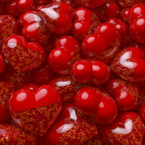 Group, pool of red heart shaped pills, capsules filled with small tiny hearts as medicine. 3d rendering stock image