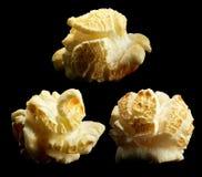 Group of popped popcorn on a black background Stock Photo