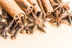 Group of popular spices consisting Cinnamon sticks, Cloves and Star Anise Royalty Free Stock Photos