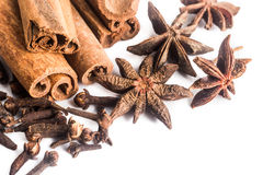 Group of popular spices consisting Cinnamon sticks, Cloves and Star Anise Stock Photo