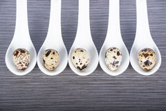Group porcelain spoons and quail eggs on a gray background Stock Photo