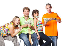 Group portrait of the actor enjoy play money Stock Photos