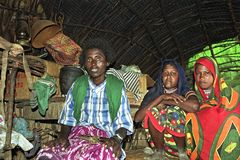 Group portrait Afar girls with mother in poor home Stock Image