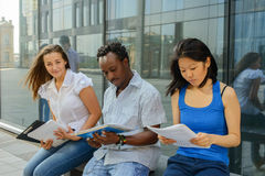 Group portrait of african, asian and european university student Royalty Free Stock Photography