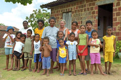 Group portrait of Brazilian mothers and children. Brazil, Bahia, Entre Rios. In the rural village Capim-Acie, municipality of Conde, are boys and girls with Royalty Free Stock Photography