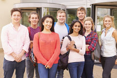 Group Portrait Of College Students With Tutor Stock Images