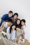 Group portrait of friends on stairway Royalty Free Stock Photography