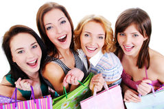 Group portrait of girls with shopping bags Stock Image