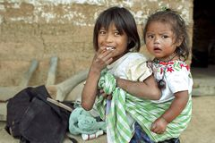Group portrait of Guatemalan Indian sisters stock photography
