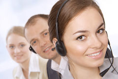 Group portrait of happy customer service people Royalty Free Stock Photos