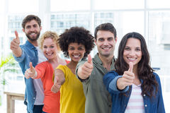 Group portrait of happy young colleagues Stock Photo