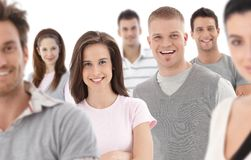 Group portrait of happy young people. Together, looking at camera, smiling Stock Photo