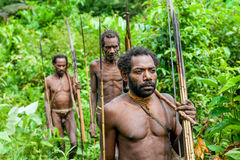 The group Portrait Korowai people on the natural green forest background Stock Photo