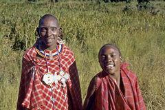 Group portrait laughing Maasai mother with son Stock Photo
