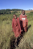 Group portrait laughing Maasai mother with son Royalty Free Stock Photo