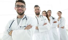 Group portrait of leading medical professionals. Concept of health Stock Image