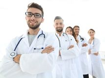 Group portrait of leading medical professionals. stock photography