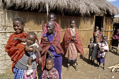 Group portrait of Maasai extended Family, Kenya Stock Photography