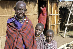 Group portrait Maasai grandma and grandchildren Royalty Free Stock Images