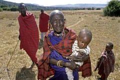 Group portrait Maasai grandmother and grandchild Stock Photos