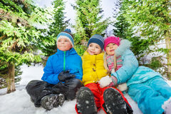 Group portrait of many kids together in snow Royalty Free Stock Images