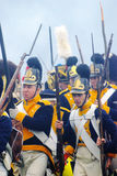 Group portrait of marching men Royalty Free Stock Photography