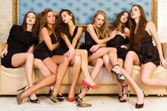Group portrait of models stock images