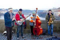 Free Group Portrait Of String-wind Quartet Charles Bridge Prague Czech Republic Royalty Free Stock Photo - 108327705