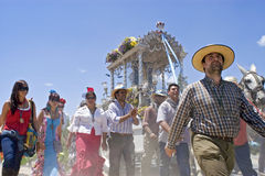 Group portrait of pilgrims, El Rocio, Andalusia Stock Photo