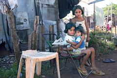 Group portrait of poor Paraguayan children in slum royalty free stock photos