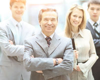 Group portrait of a professional business team looking confidently at camera royalty free stock photography