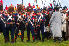 Group portrait of reenactors holding guns Royalty Free Stock Photo