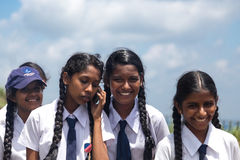 Group portrait of school students visiting Sigiriya complex Stock Photography