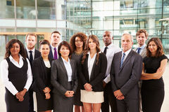 Group portrait of serious corporate business colleagues stock photo