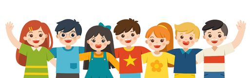 Group portrait of smiling boys and girls. Happy student standing together and waving hands. stock illustration