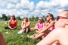 Group portrait of smiling friends friendship, leisure, summer. Stock Photography