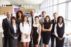 Group portrait of a team of serious office coworkers Royalty Free Stock Image