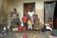 Group portrait Ugandan family in slum royalty free stock image