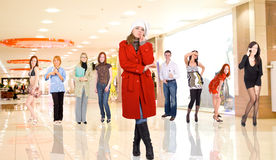 Group portrait of young adults in a mall Stock Images