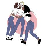Group portrait of young girls on friendly meeting. Female friends hugging each other. Three cuddling women isolated on. White background. Colored hand drawn stock illustration