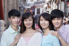 Group Portrait of Young People Outdoors in Beijing Stock Photography