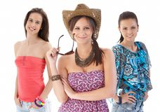 Group portrait of young women in summer clothing Royalty Free Stock Photos