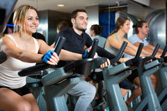 Group positive working out of cycling in fitness club. Group positive smiling working out of cycling in modern fitness club Royalty Free Stock Image