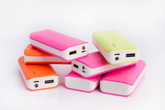 Group of power bank for mobile phones Stock Images