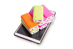 Group of power bank on Tablet Royalty Free Stock Images