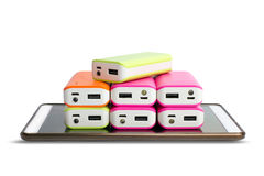 Group of power bank on Tablet Royalty Free Stock Photography