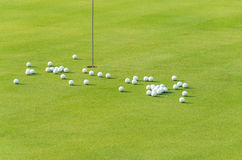 Group of practice golf ball on green. Near to hole in the morning light Royalty Free Stock Photo