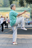 Group practice Tai Chi in Ritan Park, Beijing, China Royalty Free Stock Images