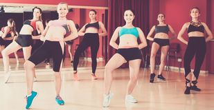 Group are practising arch movement in jazz dance royalty free stock photo