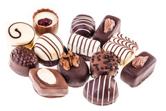 Group of pralines on white Stock Image